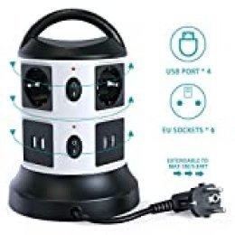 Regleta Vertical Enchufes de 6 Tomas Corrientes, 4 USB Tomas, Cable Extensible de 3 M con Función de Almacenamiento, Proteccion Sobretension Enchufe Multiple con Mango Portátil