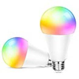 OUSFOT Bombilla LED Colores (2 Pack) Bombilla WiFi Inteligente Multicolor Bombilla Compatible con Alexa Echo Google Home e IFTTT Equivalente RGB 10W 240V [Clase de eficiencia energética A++]
