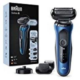 Braun Series 6 60-B4500cs Afeitadora Eléctrica, máquina de afeitar barba hombre de Lámina con Base de Carga, Recortadora de Barba, Uso en Seco y Mojado, Recargable, Inalámbrica, Azul