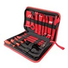VISLONE Kit Herramientas de Desmontaje, 19 Piezas herramientas desmontar para recortar el audio / radio del automóvil, paneles de puertas, ventanas, etc.(Rojo)