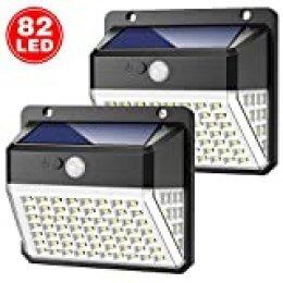 Yacikos Luz Solar Exterior 82 LED, Foco Solar Jardín 2000mAh, Lámpara Solar 270º Gran Angular de Iluminación con Sensor de Movimiento, Luces Solar Impermeable IP65 [2 Piezas]