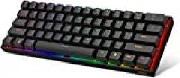 Dierya DK61E 60% Teclado mecánico para Juegos, Teclado PBT con Cable RGB retroiluminado Impermeable Tipo-C Intercambiable en Caliente Compacto 61 Teclas Teclado de computadora(Interruptor Rojo)