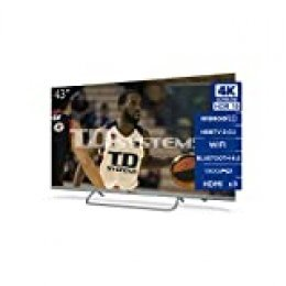 TD Systems Televisor 4K Smart TV Android 9.0 y HBBTV, 1300 PCI Hz UHD HDR, 3X HDMI, 2X USB. DVB-T2/C/S2, Modo Hotel - K43DLX11HS [Clase de eficiencia energética A] 43 Pulgadas