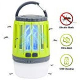 IREGRO Lampara antimosquitos Bug Zapper 2 en 1 Lámpara portátil Mosquito Killer Linterna LED Camping con 3 Modos de iluminación para Excursionismo, Campamento, Senderismo, Pesca, Emergencia (Verde)