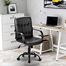 Merax - Silla de oficina giratoria (piel sintética, altura regulable y función de balanceo), color negro, Negro , 48 x 48 x 106 cm