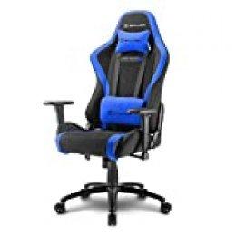 Sharkoon SKILLER SGS2 – Silla Gaming Profesional, Tela, Acero, Negro/Azul