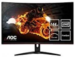 """AOC Monitor CQ32G1 - Monitor Gaming Curvo de 32"""" con Pantalla QHD e-Sports (resolución 2560x1440 pixeles, VA, 1ms, AMD FreeSync, 144Hz, Sin Marco, Ajustable en altura y FlickerFree), Color Negro/Rojo"""