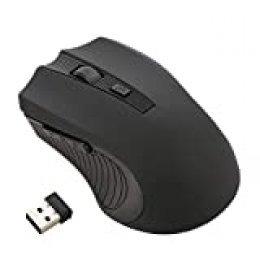 GeekerChip Ratón Inalámbrico,Portátil 2.4G Mouse Wireless con Receptor Nano,800-1200-1600 dpi Ajustable para PC/Portátil/MacBook(Negro)