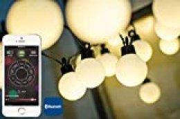 Guirnalda de luces exterior e interior de 40 bombillas Led 2 en 1 : Blanco y Multicolor con bluetooth desde cualquier dispositivo móvil. Sincroniza la luz con tu música o tu voz.