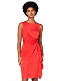 Marca Amazon - TRUTH & FABLE Vestido Túnica Detalle Retorcido Mujer, Rojo (Red), 36, Label: XS