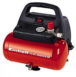 Einhell TH-AC 190/6 OF - Compresor de aire, 8 bar, depósito 6 l, aspiración 185 l/min, 1100 W, 230 V, color rojo y negro
