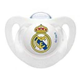 NUK Genius, Chupete del Real Madrid para Bebé de Silicona con Tetina Anatómica en Forma de Pezón Materno. Producto Oficial. Color Blanco.