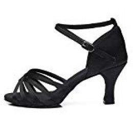 HROYL Zapatos de Baile/Zapatos Latinos de el Negro satén Mujeres ES7-F13 EU 38