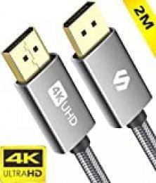 Silkland Cable Display Port 144Hz/2m, Admite 4K@60Hz, 2K@144Hz, 2K@165Hz, 3D, Compatible con FreeSync y G-Sync, Cable DisplayPort para 144Hz Monitor, 4K UHD TV, Pantalla y Tarjeta Gráfica para Juegos