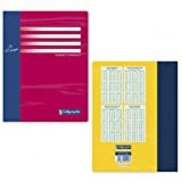 Calligraphe 5408C – Serie 7000, un cuaderno piqué 17 x 22 32 páginas grandes a cuadros 56 g, tapa de tarjeta offset color aleatorio