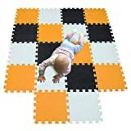 MQIAOHAM actividades alfombrillas bebes colchoneta foam goma infantil juegos niños para piezas suelo Blanco-Naranja-Negro 101102104