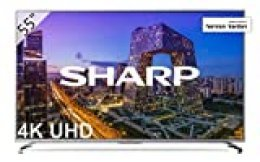 "Sharp LC-55UI8762ES - Smart TV 55"" 4K Ultra HD (LED, 3 HDMI 2.0 admiten 2160p a 60Hz, puerto USB 3.0, HDR+, DVB-C, DVB-S, DVB-S2, DVB-T MPEG-2, DVB-T MPEG-4 (H.264), DVB-T2) color gris"