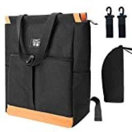 Mothor Bag Bolsa Madre Cambiar Pañales con Gancho y Bolsas de Aslamiento Bolsa para Pañales para Mamá y Papá, Gran Capacidad