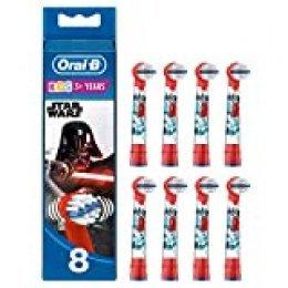 Oral-B Kids Cabezales de Recambio con Los Personajes de Star Wars, Tamaño del Buzón, Pack de 8 Unidades