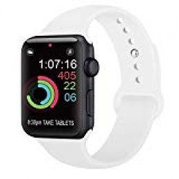 AK Compatible Apple Watch Correa 42mm 38mm 44mm 40mm, Silicona Blanda Deporte de Reemplazo Correas Compatible iWatch Series 4, Series 3, Series 2, Series 1 S/M M/L (05 White, 38/40mm S/M)