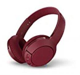 TCL MTRO200BT Auriculares inalámbricos con micrófono (Bluetooth 4.2, con aislamiento de ruido, almohadillas de cuero, 20H bateria, carga rápida, plegables), Rojo