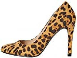 FIND Round Toe High Court Zapatos de Tacón, Marrón (Leopard), 37 EU