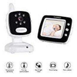 """Monitor de bebé inalámbrico, FLOUREON 3.5"""" Pantalla LCD Cámara Seguridad Digital de Video con Baby Lullaby, Visión Nocturna, Monitoreo de Temperatura, Conversación Bidireccional y Ahorro de Energía"""