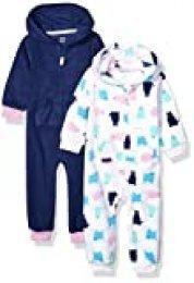 Amazon Essentials 2-Pack Microfleece Hooded Coverall Fashion-Hoodies, Gato, Recién nacido