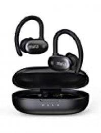 MIFA X12 Auriculares Bluetooth, Auriculares Inalámbricos Deportes Bluetooth 5.0, Sonido Estéreo 3D Hi-Fi, Impermeable IP56 con Micrófono Incorporado y Operación Táctil, 30 Horas de Juego, Negro