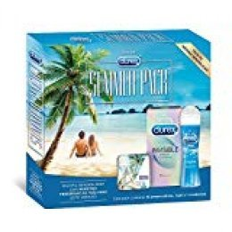 Durex Summer Pack: Preservativos Invisible Extra Sensitivo 12 condones + Lubricante Play Original 50ml + Condonera