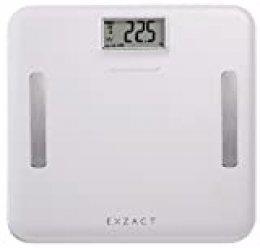 EXZACT Elite Cuero-Mirada Plataforma/ Analizador Corporal / Báscula Personal Electronica / Báscula de Baño Digital - Grasa Corporal / Hidratación / Músculos Corporal/ Hueso – emoria para 12 usarios- Capacidad Extra Grande: 180 kg