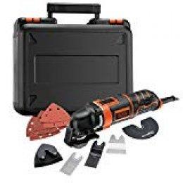 BLACK+DECKER MT300KA-QS Multiherramienta oscilante 300 W con 5 acoplamientos, 6 Hojas de Lija y maletín, 230 V