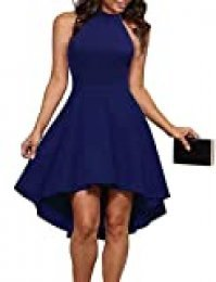 Clearlove Vestido de noche para mujer, elegante, vestido de cóctel, sin mangas, con sujeción al cuello, vestido de fiesta (embalaje múltiple)