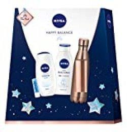 Nivea Happy Balance - Set de regalo con botella, loción corporal, ducha de cuidado y labello, pequeño agradecimiento, lleno de momentos de bienestar