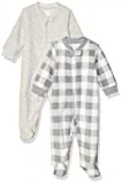 Amazon Essentials 2-Pack Microfleece Sleep and Play Infant Toddler-Sleepers, Cuadros Búfalo, Bebé prematuro