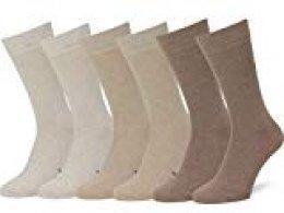 Easton Marlowe 6 PR Calcetines Lisos Negros Hombre, Algodón Peinado - 6pk #3-5, Trigo/Arena/Gris Pardo mezcla - 43-46 talla de calzado UE