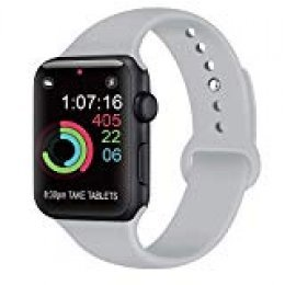 AK Compatible Apple Watch Correa 42mm 38mm 44mm 40mm, Silicona Blanda Deporte de Reemplazo Correas Compatible iWatch Series 4, Series 3, Series 2, Series 1 S/M M/L (04 Grey, 42/44mm S/M)