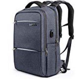 Inateck Mochila antirrobo Impermeable/Mochila Portátil, hasta 15,6 Pulgadas Mochila para Trabajo Ordenador/Negocio/Escolar Multifuncional Daypacks con Enchufe Carga USB
