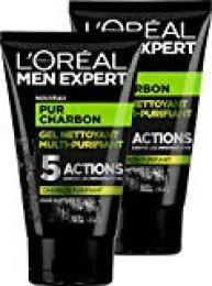 L'Oréal Men Expert Pur Carbón Gel Limpiador Multi-Purifiant Visage para Hombre -  2 unidades x 100ml