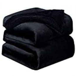 Bedsure Manta Reversible de Franela/Sherpa 220x240cm - Manta para Cama 135/150 de 100% Microfibra Extra Suave - Manta de Felpa Negro de Doble Cara