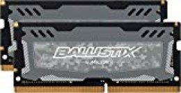 Crucial Ballistix Sport LT BLS2K16G4S26BFSD 2666 MHz, DDR4, DRAM, Memoria Gamer Kit para ordenadores portátiles, 32 GB (16 GB x 2), CL16 (Gris)