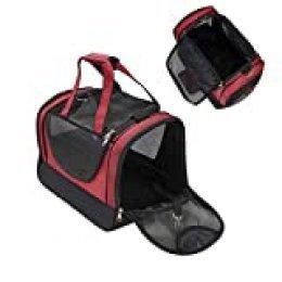 Louvra Capazo del Perro Portador del Perro Bolsa del Perro para Viaje que Se Permite para Aerolínea, hasta 4kg, Color Negro-rojo