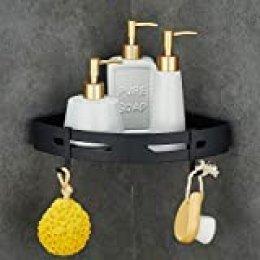 Gricol Estante para Ducha Sin Taladrar de Aluminio Aeronáutico Estanteria Antioxidante Autoadhesivo para Artículos de Baño (Negro)