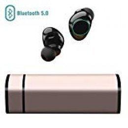 Muzili Auriculares Bluetooth, Inalámbrico Bluetooth Auriculares con Cancelación de Ruido Pantalla Táctil IP65 Auriculares con Micrófono para iPhone y Android con Portátil Caja de Carga(Gold)