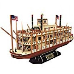 CubicFun Puzzle 3D Mississippi Steamboat Model Rompecabezas 3D Barco and Nave Kit Gift for Niños y Adultos, 142 Piezas