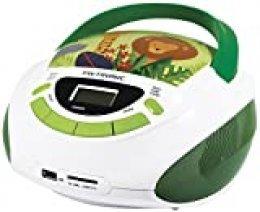 Metronic 477144 - Radio CD-mp3 y Reproductor de CD portátil con Toma USB/SD, Radio FM, con Salida Jack 3.5mm, 3w, Jungle Blanco/Verde.