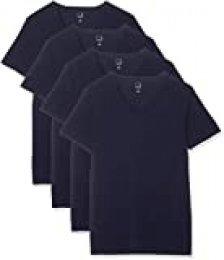 Marca Amazon - MERAKI Camiseta Interior con Cuello de Pico Hombre, Pack de 4, Azul (Navy Sky), S, Label: S