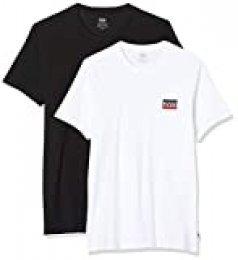 Levi's 2pk Crewneck Graphic Camiseta, Multicolor (2 Pack Sw White/Mineral Black 0000), XX-Small para Hombre