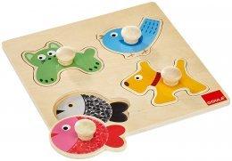 Goula Puzzle de madera con pivotes grandes para mejor agarre de los bebes