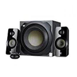 Woxter Big Bass 260 - Altavoces 2.1 (150W,Subwoofer de Madera,Control de Volumen con Cable y Doble conexión. Ideal para TV, PC y videoconsolas), Color Negro